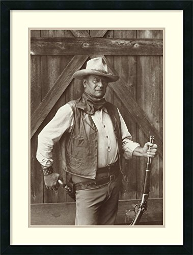 Framed Art Print, 'John Wayne' by Bob Willoughby: Outer Size 24 x 32'' by Amanti Art