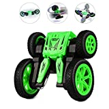 RC Cars for Kids JOMOTECH Rc Stunt Car Remote Control Car 360 Rotating Off Road Double Sided Rotating Tumbling High Speed Rock Crawler Vehicle with Headlights Children Birthday Gifts-Green