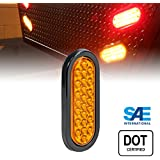 OLS 6 Inch Oval 24 AMBER LED Park Turn Trailer Tail Light for RV JEEP Trucks - DOT Certified, Grommet & Plug Included
