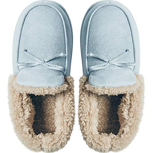 Blue Femmes Pantoufles Semelles Bow Mute Antidérapantes Hiver De Épaisses Mignon Chaudes Maison Intérieures Dandanjie Chaussures Douces Zq8dawf8x