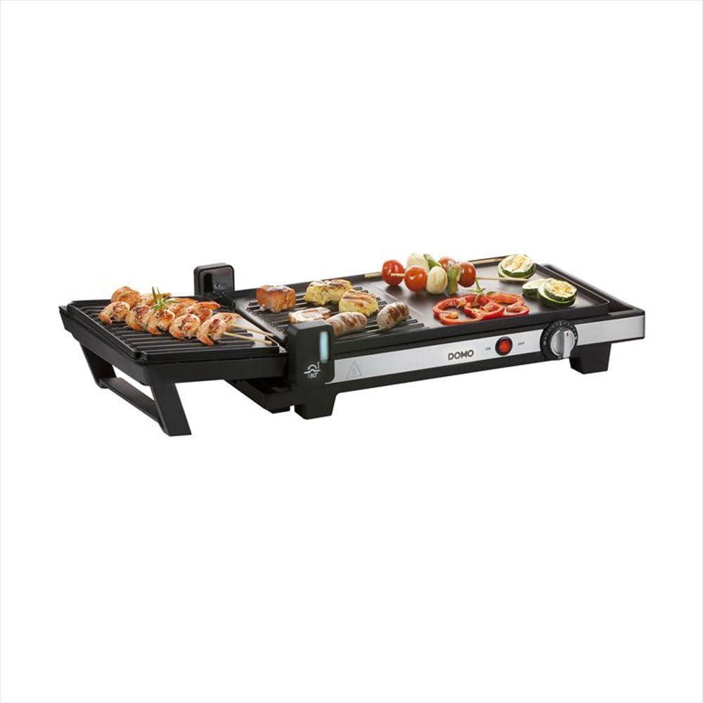 Domo do9238g 2en 1Barbecue gril de table, plaque cuisson plates et Teppanyaki avec rainures–Surface de cuisson 40x 25cm, extensible par rotation à 180°