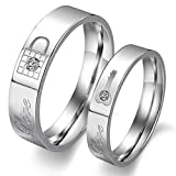 LAVUMO Couples Rings His Hers Wedding Ring Sets Engagement Anniversary Promise Band Stainless steel Lock & Key (Men 9 & women 7-2 pc)