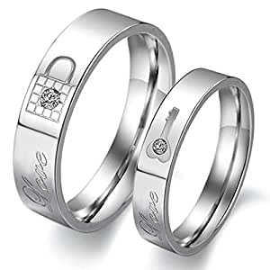 LAVUMO Couples Rings His Hers Wedding Ring Sets Engagement Anniversary Promise Band Stainless steel Lock & Key-Priced Separate (Men 10 & women 10-2 pc)
