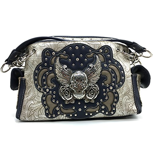 Justin West Tooled Winged Sugar Skull Roses Laser Cut Chain Shoulder Handbag Purse with Concealed Carry and Phone Slot (Silver) (Rose Rhinestone Skull)