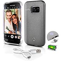 Premium Phone Cases for Samsung Galaxy S7 Selfie LED Light Case with Built-In Power Bank Phone Charger | Buy Selfie a Stick LED Illuminated Flashing Light (Samsung Galaxy S7) Grey (SL301S7GR)