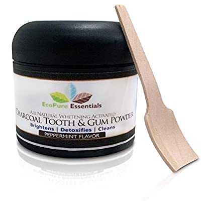 All Natural Whitening Activated Charcoal Tooth and Gum Powder with Bentonite Clay. Alternative to Toothpaste. No Fluoride, Sodium Lauryl Sulfate(SLS) or GMO's. Safe for Sensitive Teeth.
