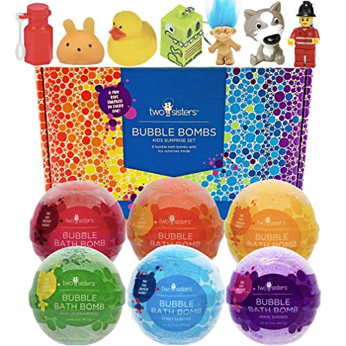 Bubble Bath Bombs for Kids with Surprise Toys Inside for Boys and Girls by Two Sisters Spa. 6 Large 99%...
