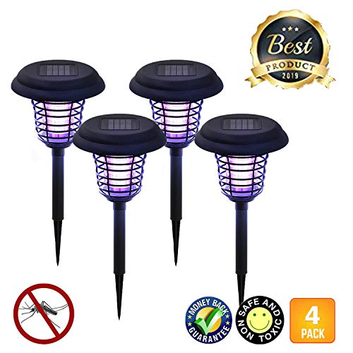 LIGHTSMAX Solar Powered Light, Mosquito and Insect Bug Zapper-LED/UV Radiation Outdoor Stake Landscape Fixture for Gardens, Pathways, and Patios (4)