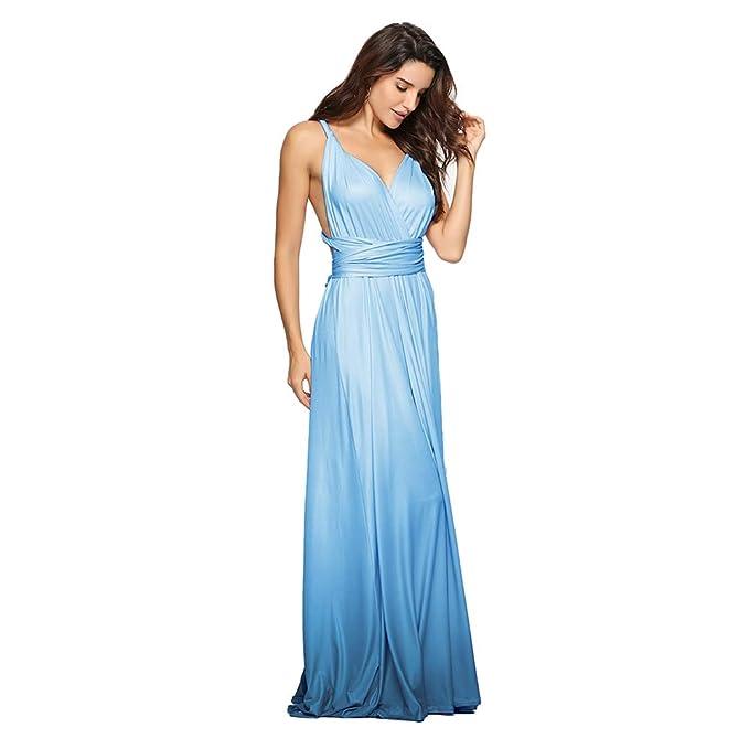 99c426dbfd5 IMEKIS Women s Convertible Multi Way Wrap Maxi Dress Gradient Wedding  Bridesmaid Formal Pageant Evening Party Long