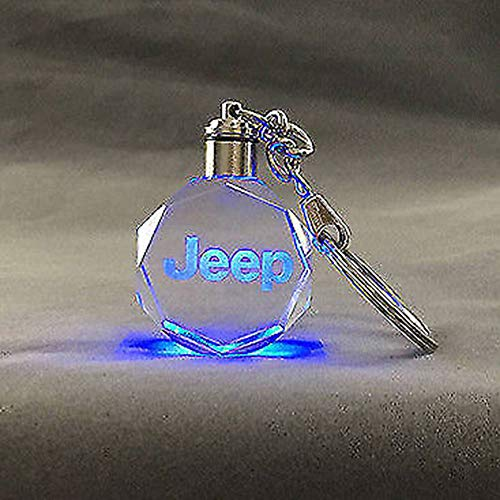 Fitracker Car Logo Jeep Key Chain Crystal LED Light Changing KeyChain Keyring Accessories with Gift Box