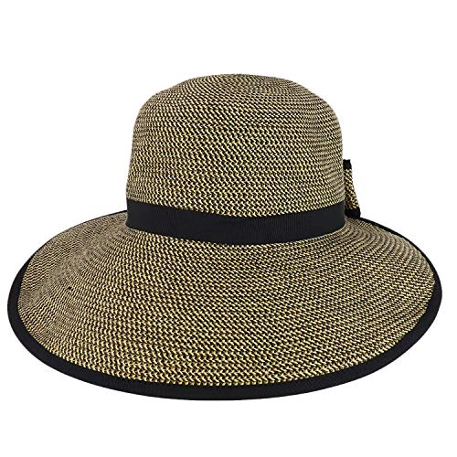 (Trendy Apparel Shop UPF 50+ 4 Inch Split Brim Bow Paper Braid Tweed Sun Hat - Black)