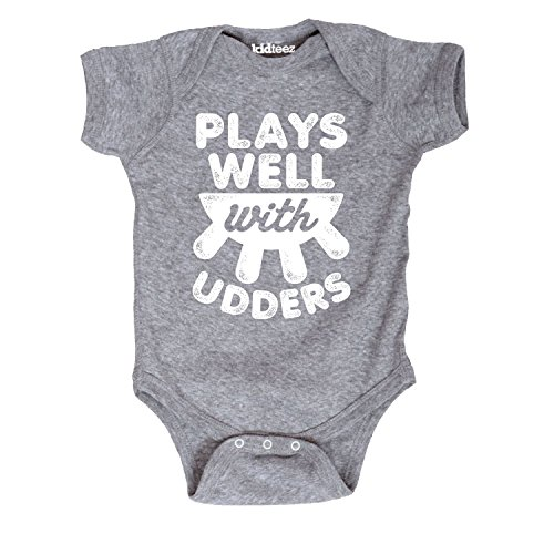 Plays Well With Udders Cow Farm Barn Country Humor Cute Novelty - Baby One Piece