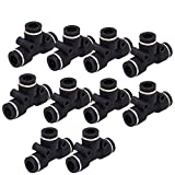 Push Fittings 1/4 inch OD - DERNORD 10 Pack Plastic Push to Connect Fitting Tube Connect Tee Connect1/4 inch to 1/4 inch Quick Fittings Lock