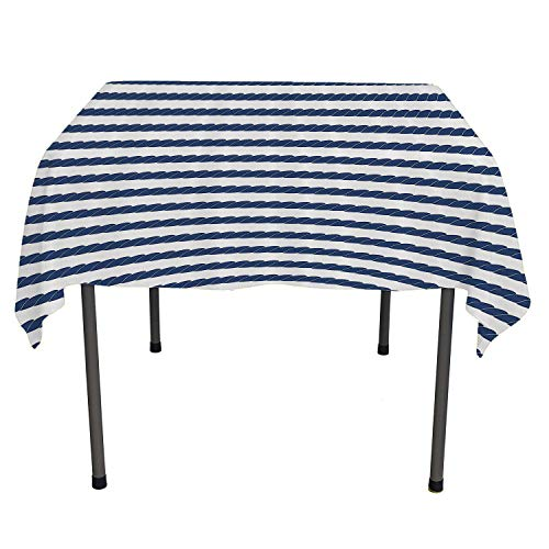 Navy Custom tablecloths Nautical Rope in Horizontal Style Marine Sea Life Ocean Pacific Art Print Violet Blue and White Outdoor Picnic Table Cloth Washable Spring/Summer/Party/Picnic 60 by 84 (Pacific Luncheon Napkins)