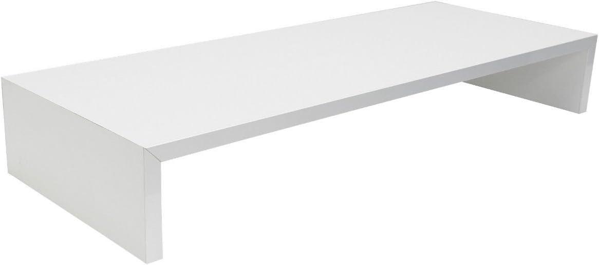 Hermesmöbel Support d'écran d'ordinateur de Bureau Étagère de Bureau Blanc Brillant l/h/p 75x 12x 30cm