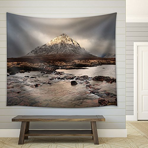 Landscape Flowing River in Front Mountain Fabric Wall