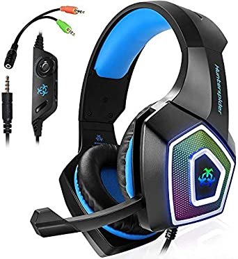 Amazon Com Xbox One Headset Gaming Headset For Ps4 Pc Mobile Phone 3 5 Mm Gaming Headset Led Light Over Ear Headphones With Volume Control Microphone For Xbox Ps4 Laptop Tablet Usb Lighting Wsqiwni Blue