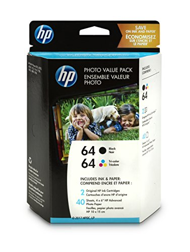 HP 64 Black & Tri-Color Original Ink, 2 Cartridges, and 40 Sheets Photo Paper (N9J90AN, N9J89AN) for HP Envy Photo 6252 6255 6258 7155 7158 7164 7855 7858 7864 HP Envy 5542