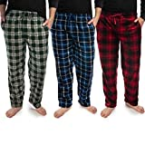 DG Hill (3 Pairs) Mens Plaid Pajama Pants with Pockets, Multi-color, Small 27-29, waist