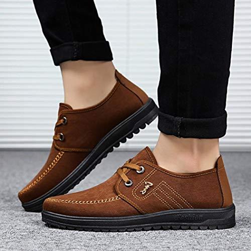 Schuhe Flache Männer Schuhe Braun Kappe Schnürschuhe Atmungsaktive Rutschfeste Freizeitschuhe Runde Z00T8x