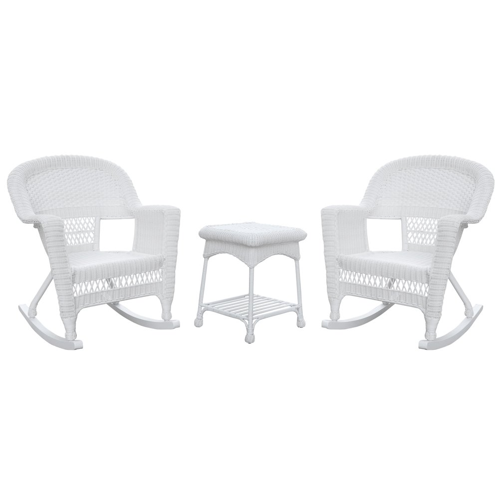 Jeco W00206R-B_2-RCES 3 Piece Rocker Wicker Chair Set, White