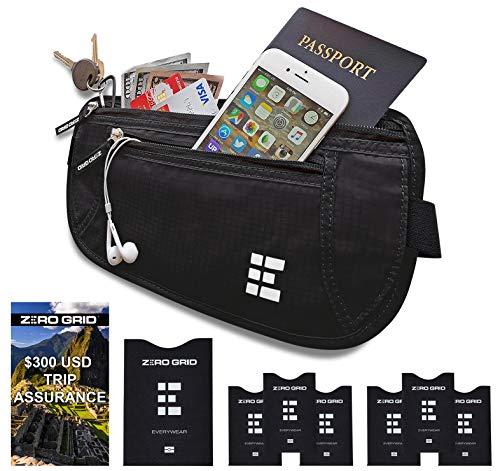- Zero Grid Money Belt w/RFID Blocking - Concealed Travel Wallet & Passport Holder