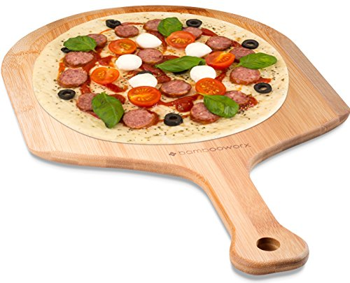 BambooWorx Pizza Peel, Premium Natural Bamboo Paddle, Perfect for Homemade Pizza, Bread Baking, Cheese Board, Cutting board, or Serving Board.