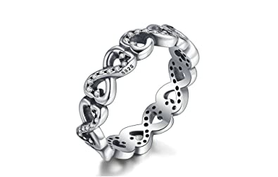 Dixey Luxury Anillos 925-Sterling-Silver-Infinite-Love-Stackable-Ring