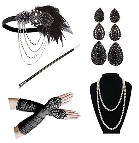 1920s Accessories Headband Necklace Gloves Cigarette Holder Flapper Costume Accessories Set for Women(af1)