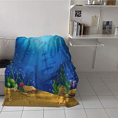 (Khaki home Children's Blanket Portable Print Digital Printing Blanket (50 by 60 Inch,Aquarium,Marine Life Landscape Sunken Ship Silhouette Corals Fishes Tropics,Blue Light Coffee Green)
