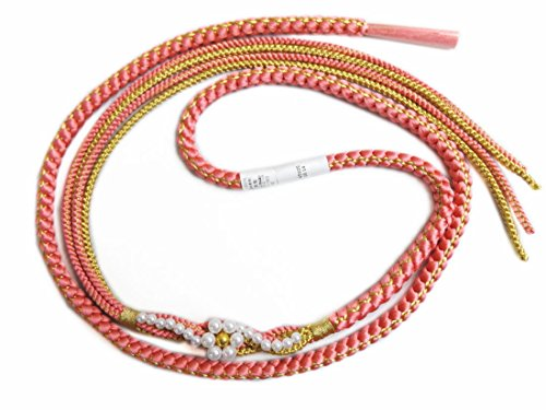 パール花飾り付先割れ正絹帯締め帯〆ピンク色 振袖成人式&着物に