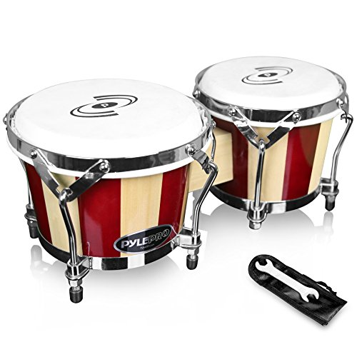Pyle Hand Crafted Bongo Drums - Pair of Wooden Bongo Drums, 6.5 & 7.5 Inch - PBND10 ()