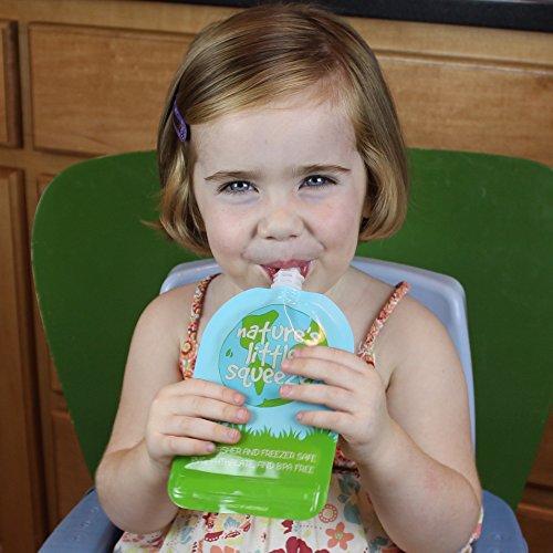 WeeSprout Double Zipper Reusable Food Pouches | 6 Pack Variety (2 ea) 3.4 fl oz, 5 fl oz & 7 fl oz Size Pouches | Original
