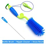 ArtiGifts Baby Bottle Cleaning Brush Set (3-in-1) with Nipple Cleaner & Straw Brush - BPA-Free, 360° Rotating, Adjustable Length Washer Head, Well Suitable for Most Sizes of Feeding Bottles, Blue