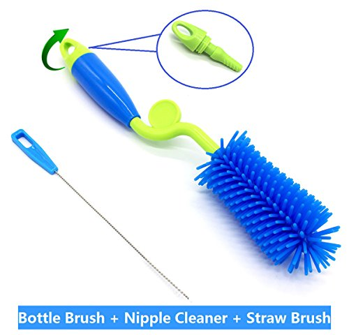 Silicone Bottle Brush, ArtiGifts Baby Bottle Cleaning Brush with Nipple Cleaner & Straw Brush, 360° Rotating Long Handle, Perfect for Feeding Bottle, Water Bottle, Mug, Cup, Jar - Green