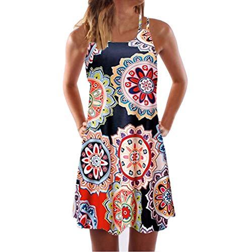 LINKIOM Skirts for Women Long Length, Vintage Boho Mini Dress Women Summer Sleeveless Beach Printed Short Skirt(XXX-Large,Orange-B)