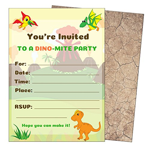 Dinosaur Birthday Party Invitations-Dino Invitations-Kids Dinosaur Party Invitations for Dinosaur Party Supplies-Theme-Decorations-Boys or Girls-Dino Invites-Large 5x7-with Envelopes-25 Count by Rebanah
