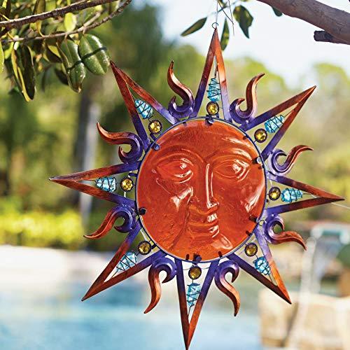 - BrylaneHome Solar Sun Hanging Art - Multi