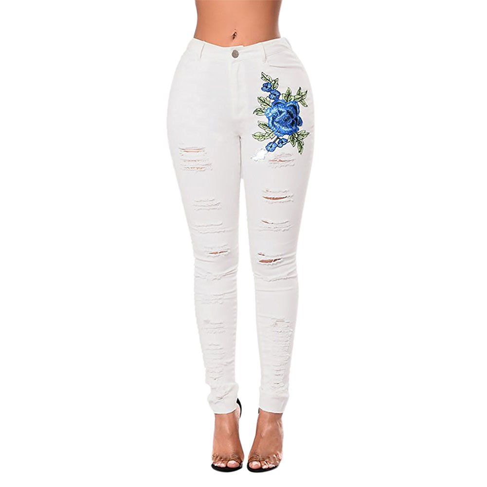 LAEMILIA Women's High Waisted Stretchy Distressed Denim Pants Rose Embroidered Ripped Skinny Jeans Slimming Butt Lifting 01B0772