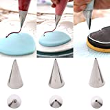 Astra shop 3-Piece Extra-Fine CAKE DECORATING TIPS SET¨C Meringue Icing Tips Piping Nozzles ¨C 3 Size Stainless Steel Icing T