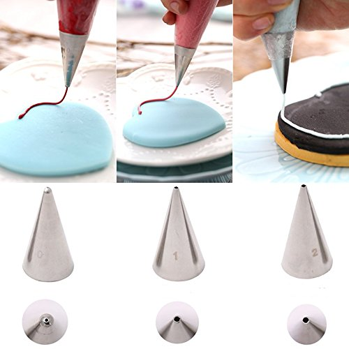Astra shop 3-Piece Extra-Fine CAKE DECORATING TIPS SET¨C Meringue Icing Tips Piping Nozzles ¨C 3 Size Stainless Steel Icing Tips - for easy cake cupcake dessert cookies decorating