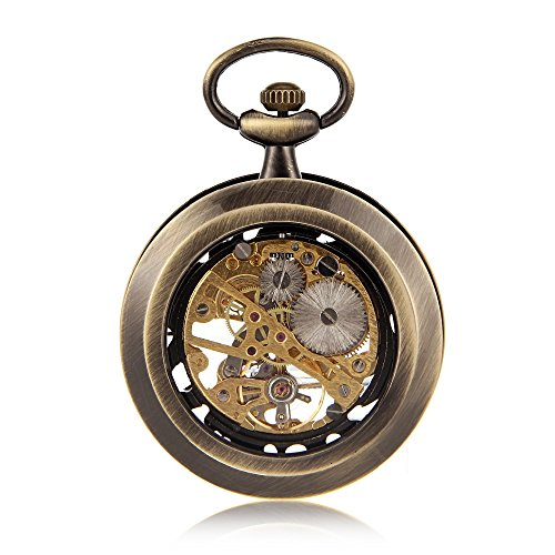 Amazon.com: Open Face Bronze Tone Skeleton Steampunk Hand Wind Mens Pocket Watch W/Chain Luxury Timepiece Reloj De Bolsillo: Watches