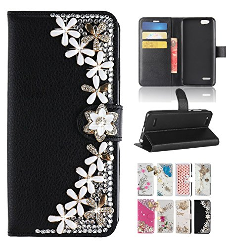- ZTE Blade Vantage Case, ZTE Tempo X N9137 / ZTE Avid 4 Z855 Case, Best Share Luxury Bling Diamond Flip Leather Kickstand Wallet Case With Card Slot Full Protective Cover, Black Flower