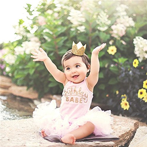 Baby Crown Headband,Elastic Glitter Birthday Crown Party Hats for Baby Girls Women Costumes Photo Prop-(Gold Crown,1 PCS)