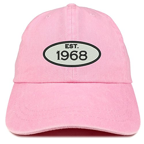 Trendy Apparel Shop Established 1968 Embroidered 50th Birthday Gift Pigment Dyed Washed Cotton Cap - (50th Birthday Hats)