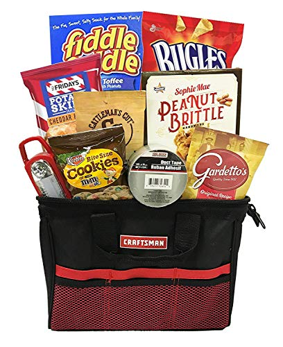 Man Basket - Mens Gifts Basket With Snack Foods - Gift Basket For Birthday, Congratulations, Christmas - Perfect For Men, Mens, Dad, Grandfather, Father, Son, Husband (Snack Gift - Craftsman Toolbag) -