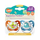 Ulubulu Expression Pacifier Set for Boys, Green and Blue Monster, 6-18 Months