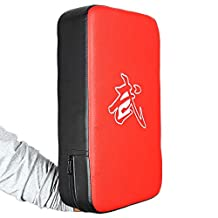 PU Leather Rectangle Strike Punching Kicking Pad Arm Shield Target for Focus Training of Boxing Karate Muay Thai Kick UFC MMA TKD-RED + BLACK