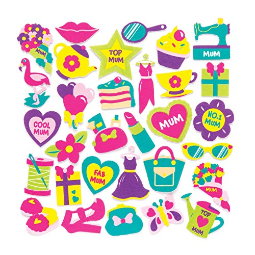 Baker Ross Mother's Day Foam Stickers (Pack of 120) Embellishments Perfect for Mothers Day Arts and Crafts