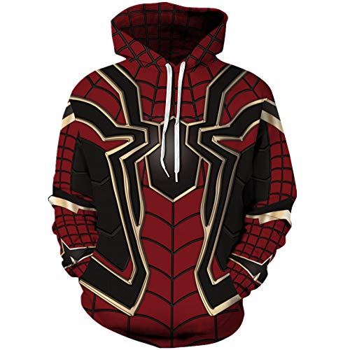 Tsyllyp Womens Mens Superhero Hoodies Spiderman Halloween Cosplay Costume -